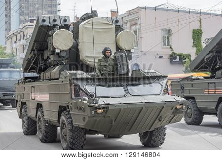 ROSTOV-ON-DON RUSSIA- MAY 09- Military parade in honor of the 71 th anniversary of Victory in Great Patriotic War (the end) on May 09 2016 in Rostov-on-Don
