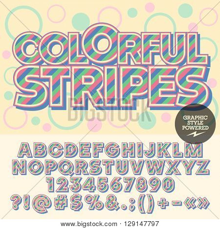 Vector funny striped alphabet. Fantastic card with text Colorful stripes with circles on background. Set of numbers, symbols and letters with pink, blue and green stripes