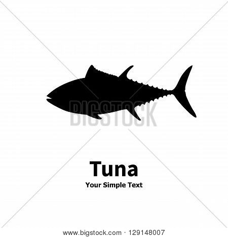 Vector illustration of a silhouette of a tuna fish. Isolated on white background.