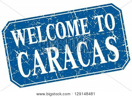 welcome to Caracas blue square grunge stamp