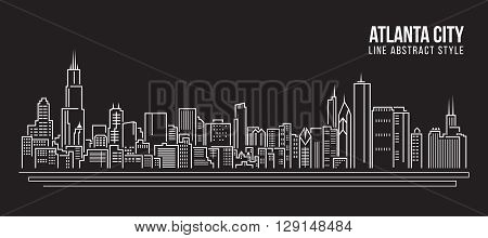 Cityscape Building Line art Vector Illustration design - Atlanta city