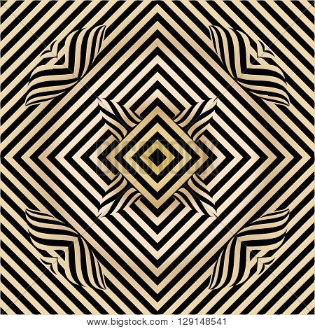 texture pattern illusion of the lines in the form of a symmetrical convex rhombus in a square on a background metal gold gradient