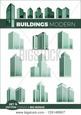 Skyscraper logo building icon set. Black building and isolated skyscraper, tower and office city architecture, house business building logo, apartment office vector illustration