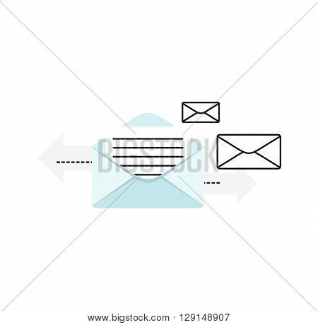 Contact concept message. Conceptual banner envelope contacts and message. Incoming and outbox alerts. Digital communication dialogue and correspondence. Vector illustration