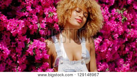 Sexy Girl Posing on Floral Background