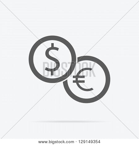 Currency exchange icon. Dollar and euro icon isolated. Banking transfer sign. Euro to dollar symbol. Vector illustration