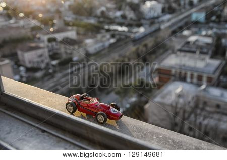 Scale model of famous race car of the 50's at the sunset