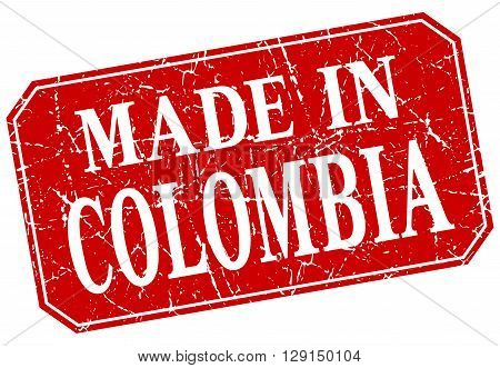 made in Colombia red square grunge stamp