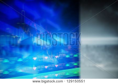 Stocks and shares against image of a city landscape