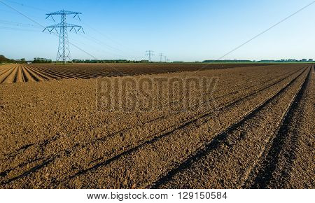 Ridges of clay after seeding potatoes in the farmland. In the background are high voltage lines and pylons. It is a sunny day in the early spring season.