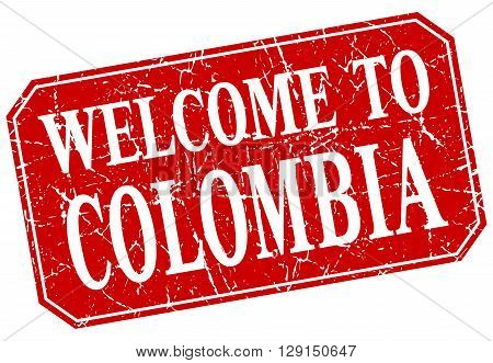 welcome to Colombia red square grunge stamp