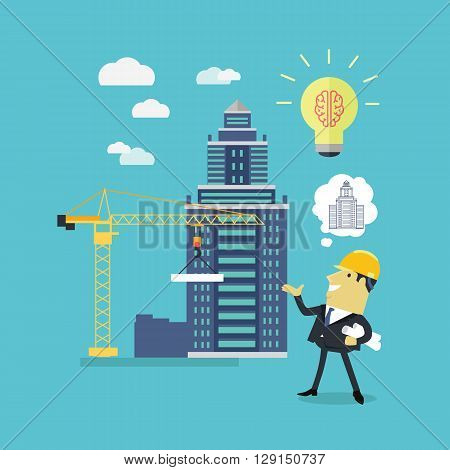 Implementation ideas architect. Successful architect in helmet and with blueprints in hand implements his idea of building a new building. Staff pleased with successes of colleges. Vector illustration