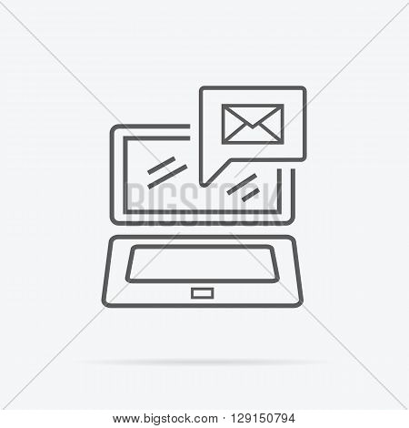 Contact concept message and laptop icon. Conceptual banner envelope contacts and message. Incoming and outbox alerts. Digital communication dialogue and correspondence. Vector illustration