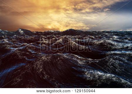 Rough blue ocean against cloudy sky
