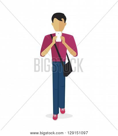 Boy holding hands and looking at his phone are isolated on a white background. Social internet addiction disorder. Vector illustration