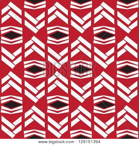 Seamless white zig zag native pattern on red background