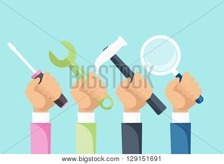 Tools and hands design flat concept. Hand and tool, hand work repair, construction tools service, wrench and spanner tools, hammer tools on hand, screwdriver tools, magnifying glass illustration