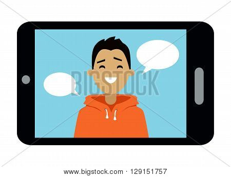Video communication smart phone. Video message on the smartphone screen. A young man using webinar technology communicate. Flat design young boy on display digital telephone. Vector illustration