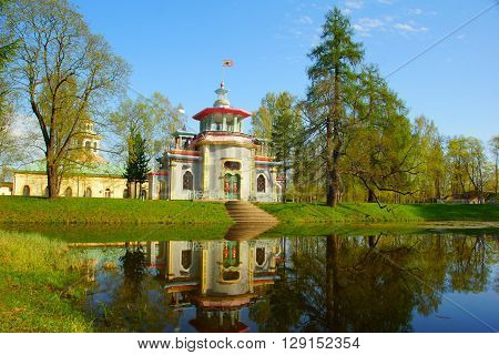 Squeaky pavilion. Spring in the Catherine park in Tsarskoye Selo. Early May