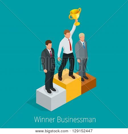 Businessman with Winner cup. Winner concept. Businessman on first place pedestal rising hand with gold cup. Flat 3d web isometric infographic vector illustration