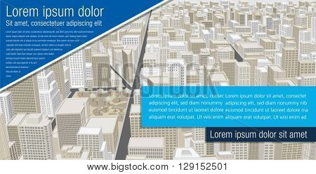 Template for advertising brochure with Big city with buildings. Downtown.