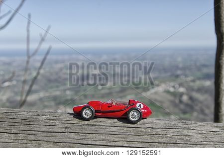 Scale model of red car of the 50's at San Marino