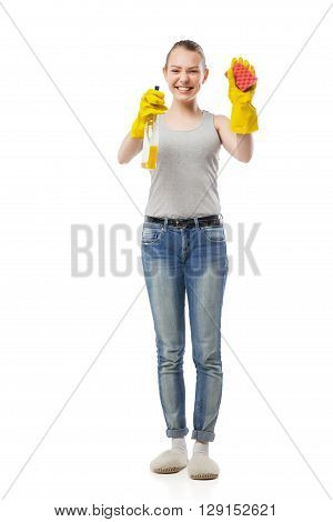 Young woman with sponge and cleansing spray for window, housewife, isolated on white