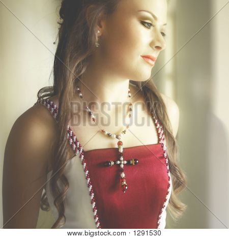 Beautiful Bride In Red Pearly Dress