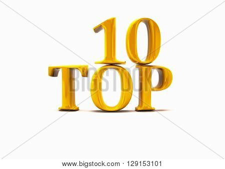 Top 10. 3D illustration on white background.