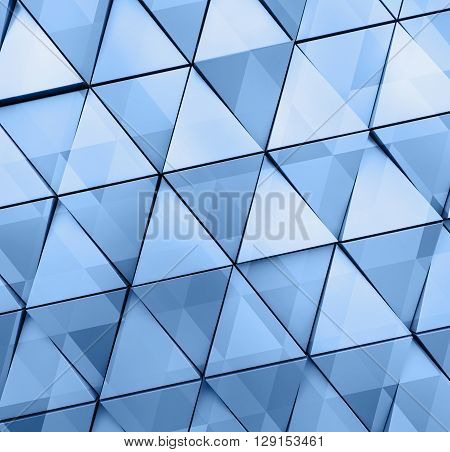 Abstract illustration of modern aluminum triangles. Double exposure