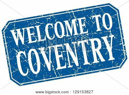welcome to Coventry blue square grunge stamp