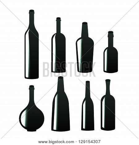 Wine bottle sign set. Set of black line icons. Different types of alcohol bottles. Bottle of champagne, juice, soda, water.