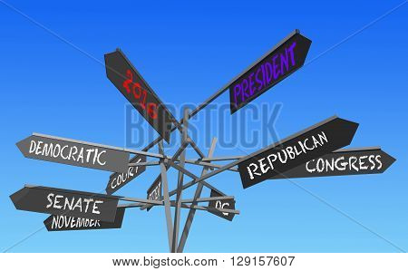 election 2016 choice conceptual post 3D rendering