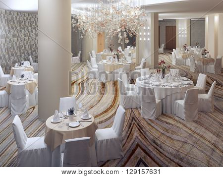 Preparing for elegant banquet. Large room with columns beautiful interior with using of cloth covered furniture. 3D render