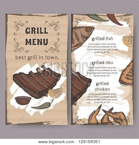 Vintage grill restaurant menu template with hand drawn color sketch of grilled fish, ribs, chicken legs and wings. Placed on cardboard background. Great for grill cafes and restaurants.