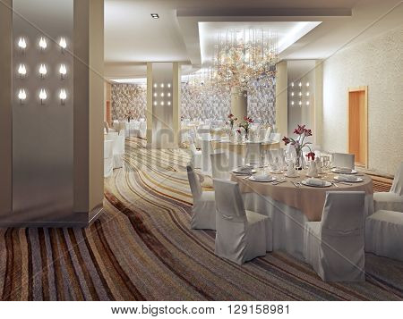 Restaurant Interior Design in contemporary style. Served round tables with cloth covered chairs in large hall with colored carpet flooring. 3D render