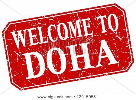 welcome to Doha red square grunge stamp