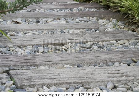 Stone And Wooden Walkway In Garden