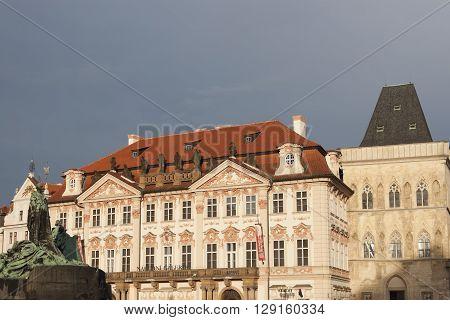 PRAGUE CZECH REPUBLIC - NOVEMBER 4 2012: Architectural masterpieces of the Old Town Square in Prague. Czech Republic