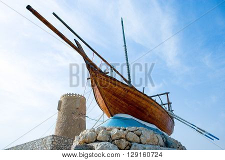 Qatar Al Khor a monument of the typical Dhow boats