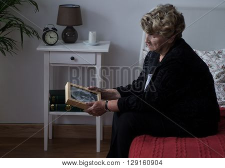 Elderly Widowed Lady In Grief