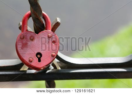 Valentines day postcard template. Closed padlock, vintage design, macro view. Love concept image. Soft focus