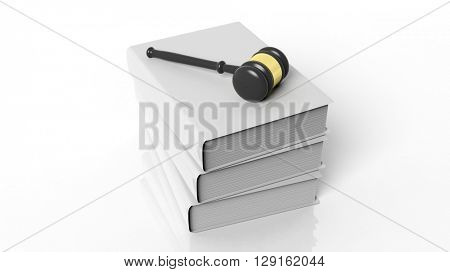 3D rendering of gavel on three blank hardcover books, isolated on white background.