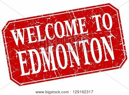 welcome to Edmonton red square grunge stamp