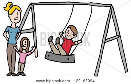 An image of a baby sitter with kids on swing set.