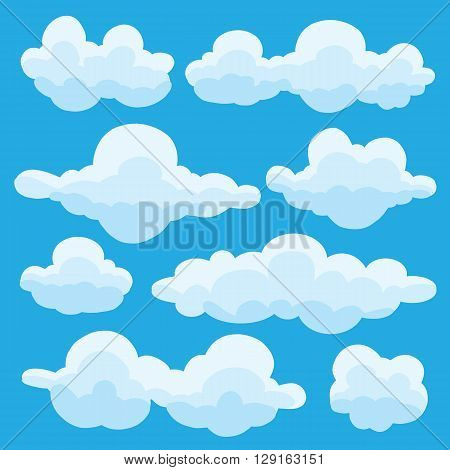 Collection of vector cartoon clouds in different shapes white fluffy cloud icons on a turquoise blue sky in different shapes vector