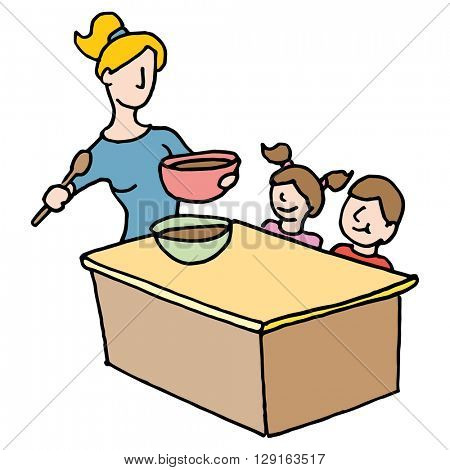 An image of a baby sitter cooking for children