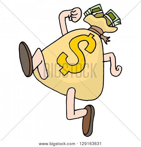 An image of a runaway savings moneybag