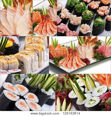 Assorted delicious savory sushi rolls and fish collage, asian japanese food