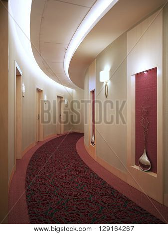 Round hotel corridor in art deco style. Floating suspended ceiling with neon lights. Wall wooden molding beautiful ornament decor. 3D render